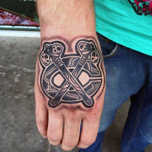 Chicago Blackhawks Mens Hockey Hand Tattoo Deisgns