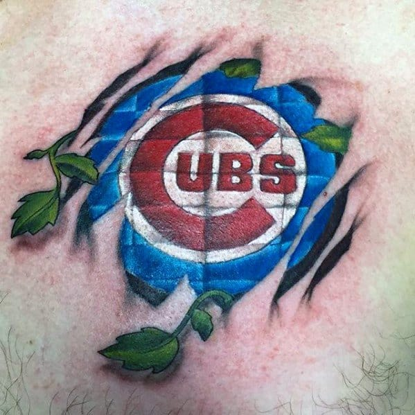 Chicago Cubs Ripped Skin 3d Upper Chest Guys Tattoos