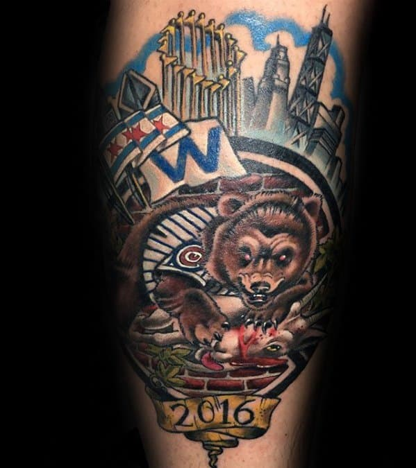 Chicago Cubs Tattoo Designs On Gentlemans Forearm