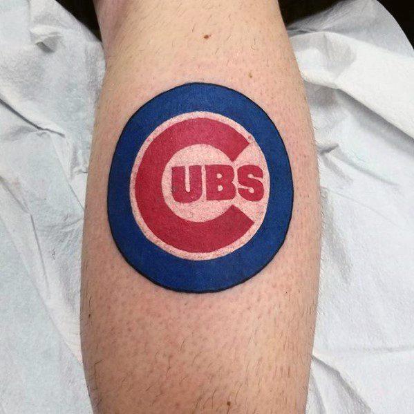 Chicago Cubs Tattoo On Men Leg Calf