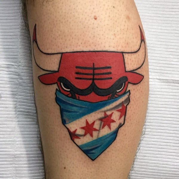 Chicago Flag Bulls Mens Leg Tattoo