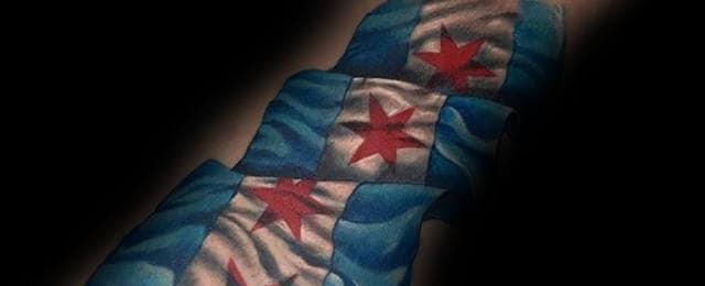 50 Chicago Flag Tattoo Designs For Men – Illinois Ink Ideas