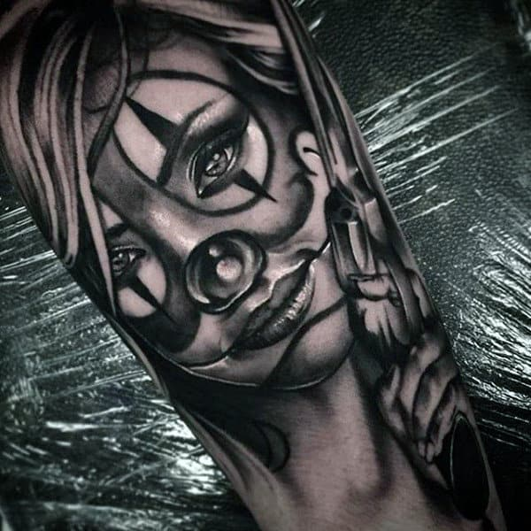 Chicano Female Clown Mens Arm Tattoos