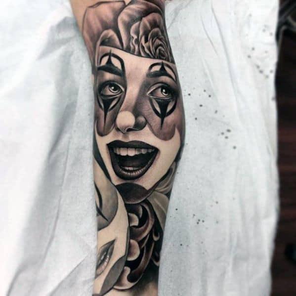 Chicano Leg Sleeve Distinctive Male Drama Mask Tattoo Designs