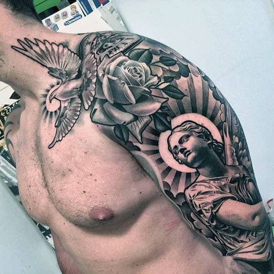 nextluxury shoulder 2 black and grey rose tattoos