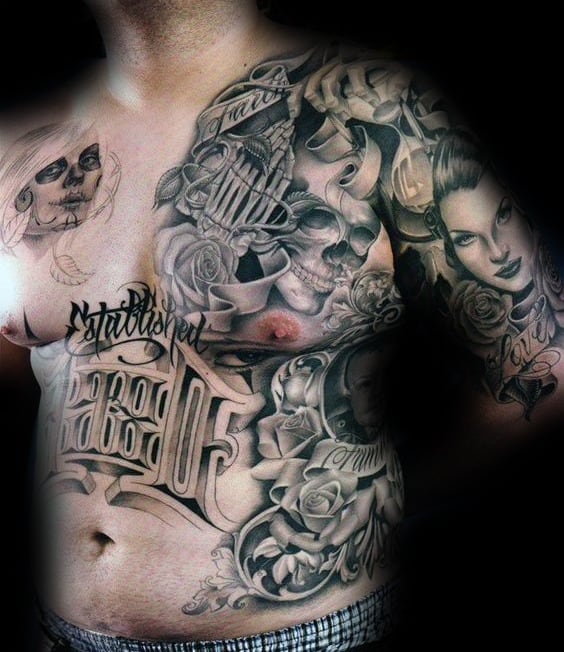 Chicano Mens Shaded Rib Cage Side And Upper Chest Tattoos