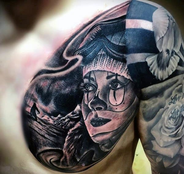 Chicano Mens Skiing Chest Tattoos