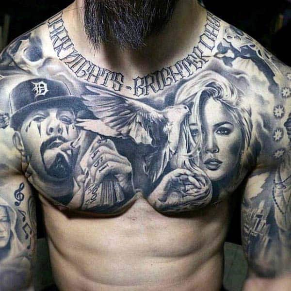 Chicano Nice Mens Chest And Half Sleeve Tattoos