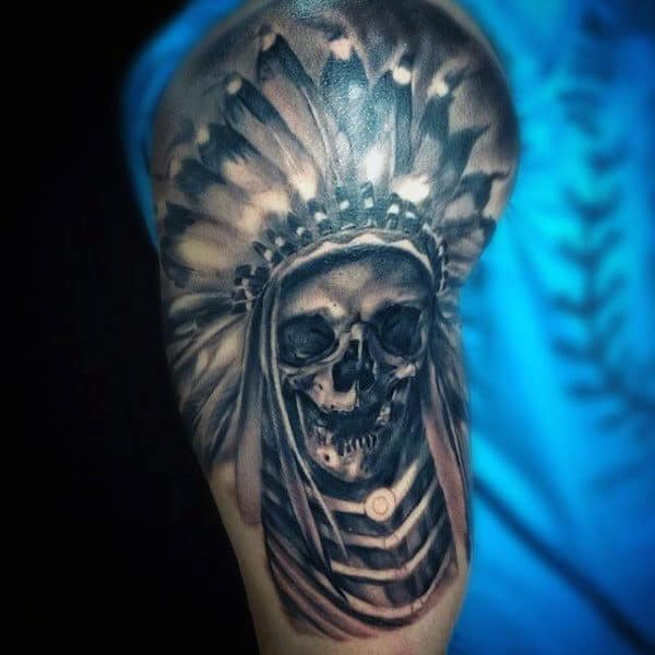 Chief Indian Skull Male Half Sleeve Designs For Tattoos