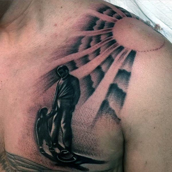 Child And Grandpa Mens Chest Tattoo With Rising Sun Design
