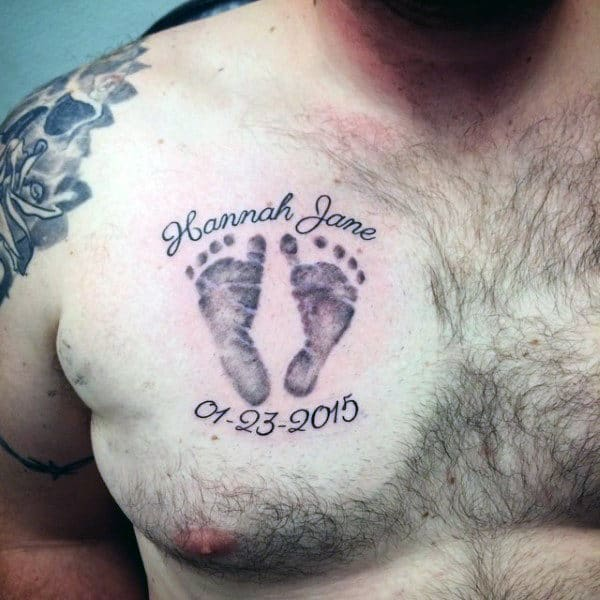 Child Footprint Mens Upper Chest Tattoo Ideas