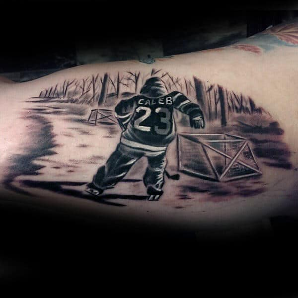 Child Hockey Player Mens Bicep Tattoos