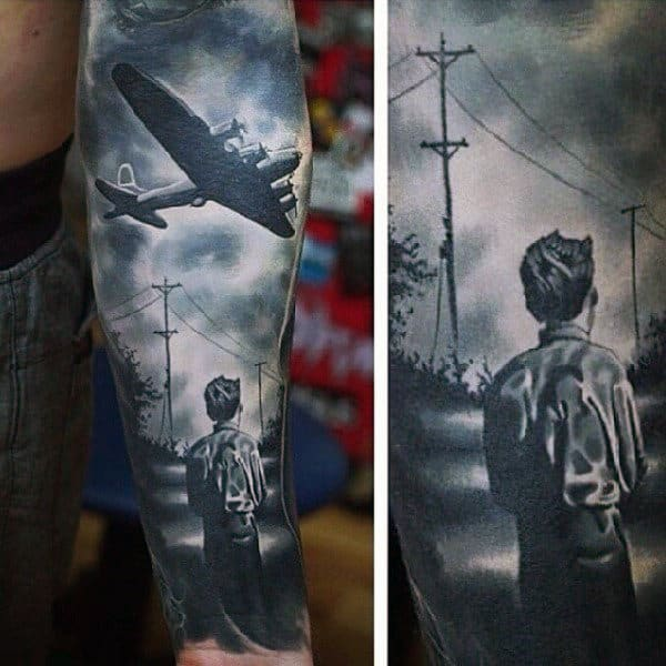 Child Looking At Figter Plane Mens Ww2 Forearm Sleeve Realistic Tattoos