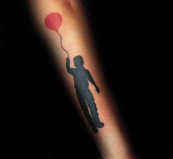 Child With Red Ballon Silhouette Mens Forearm Tattoo
