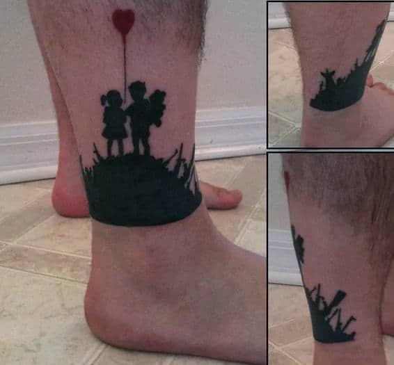 Children Banksy Mens Lower Leg Tattoos