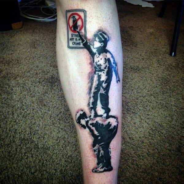 70 banksy tattoos for men street art ink design ideas for Street sign tattoos