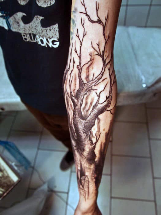 Chilling Black Oak Tree Tattoo On Forearms Men