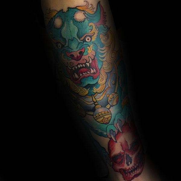 Chinese Male Foo Dog Tattoo With Red Skull Design