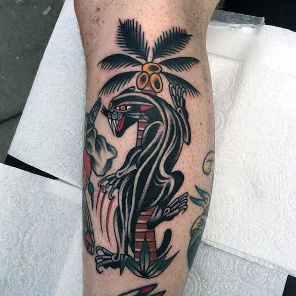 Chinese Palm Tree Tattoo On Legs For Men