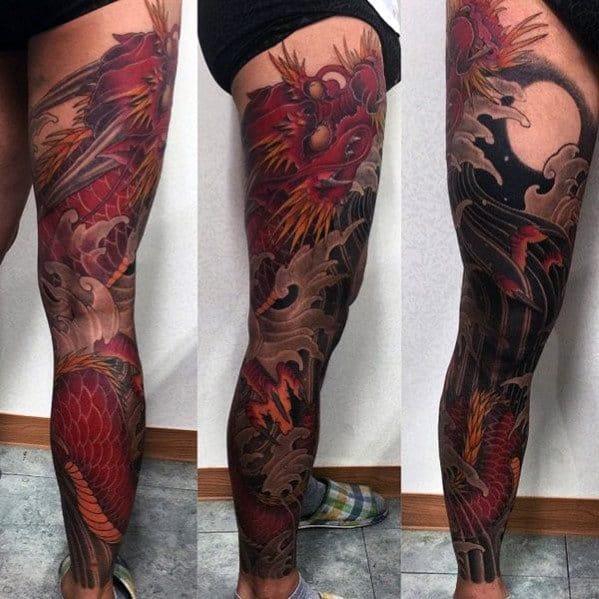Chinese Red Dragon With Negative Space Moon Guys Full Leg Sleeve Tattoo