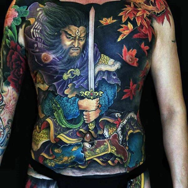 Chinese Warrior With Sword Mens Full Chest Tattoo Designs