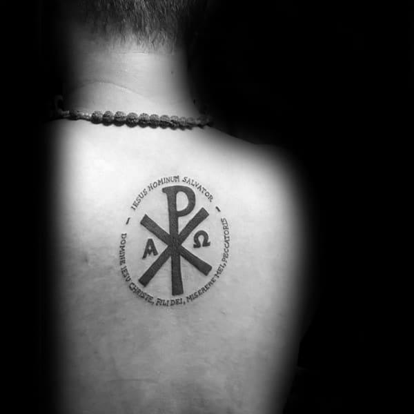Christian Chi Rho Mens Upper Back Tattoo With Circular Word Design