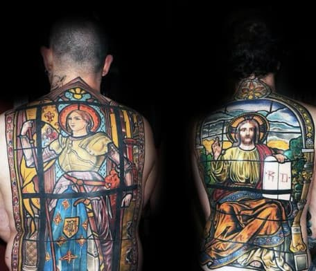 Christian Full Back Stained Glass Tattoos On Men