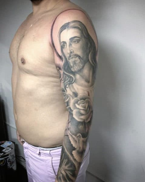 Christian Jesus Tattoo On Males Full Seeve Jesus