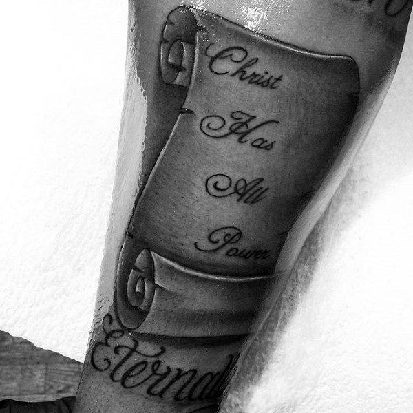 Christian Male Scroll Inner Forearm Tattoos