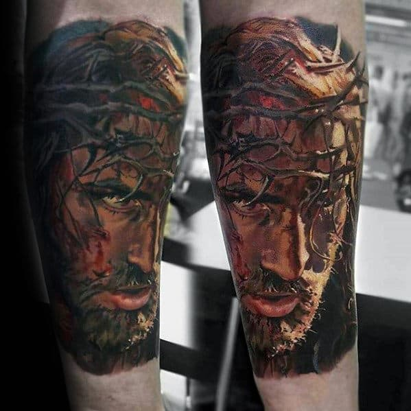 Christian Mens Jesus Realistic 3d Outer Forearm Tattoo Designs