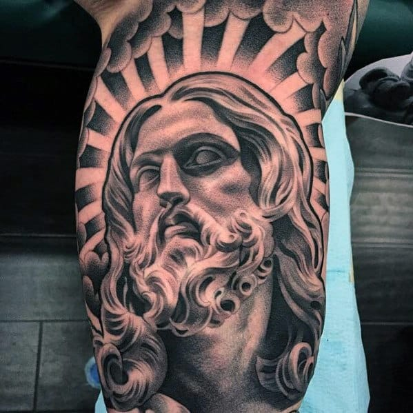 Christian Mens Shaded Jesus Face Arm Tattoo