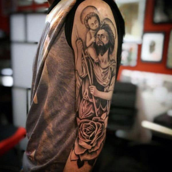 Christian Saint Christopher With Rose Flower Mens Half Sleeve Tattoos