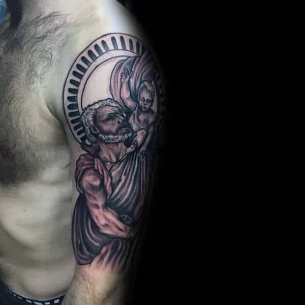321bca750a60d Christian Tattoo Of Saint Christopher For Guys Half Sleeve