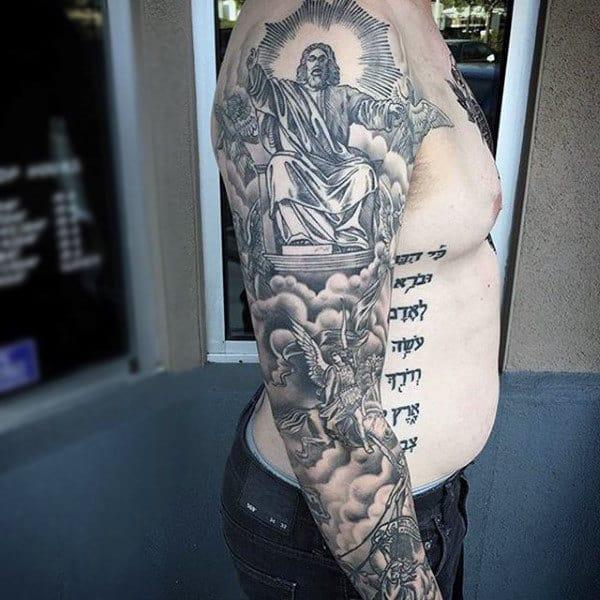 Christian Themed Jesus Full Sleeve Tattoo Designs For Guys