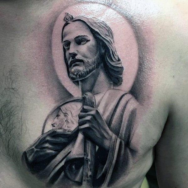Christianity Tattoos For Men On Upper Chest