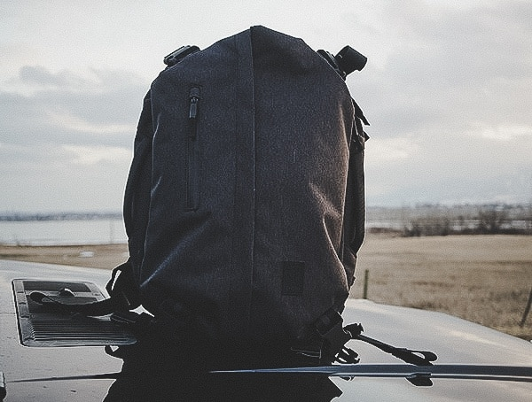 Chrome Industries Summoner Backpack Review On Top Of G Wagen Truck Hood