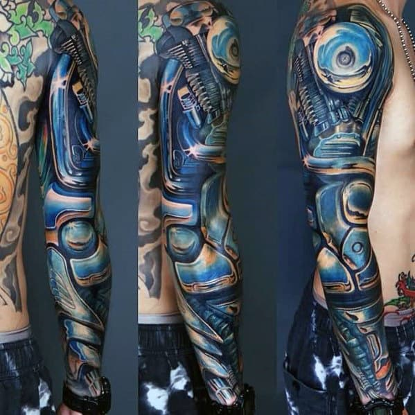 Chrome Motorcycle Engine Mens 3d Sleeve Tattoo