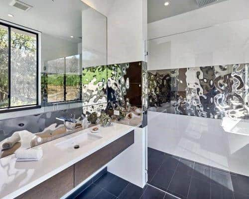 Chrome Textured Unique Metal Bathroom Backsplash Ideas