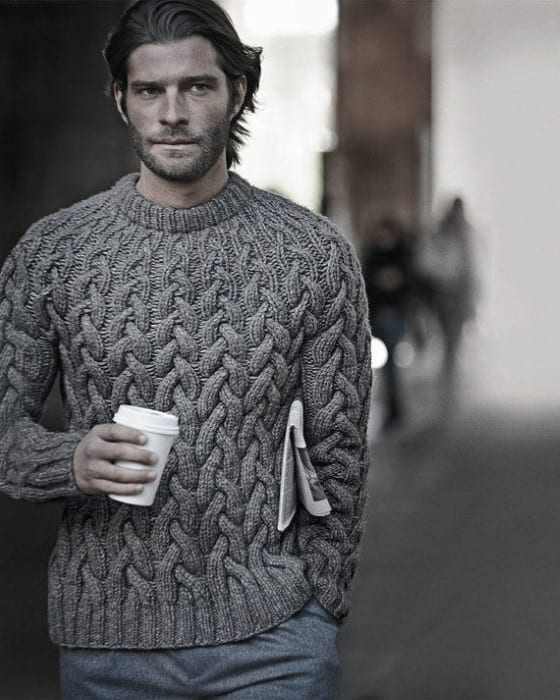 Chunky Grey Knit Sweater Winter Outfits Male Style