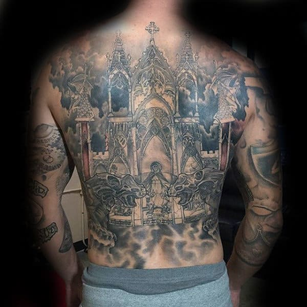 Church Building With Gargoyles Mens Full Back Tattoo Ideas