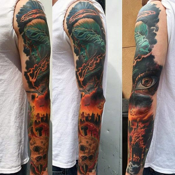 Church On Fire Mens Full Sleeve Tattoo Designs