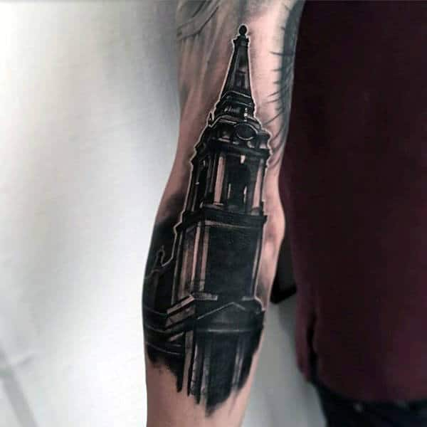 Church Tower Awesome Mens Black Ink Outer Forearm Tattoo Inspiration