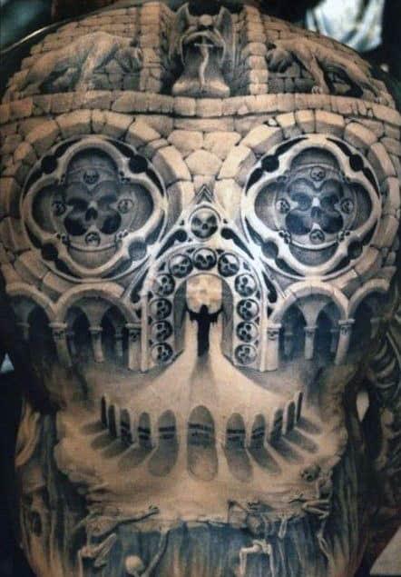 Church Window Building Optical Illusion Mens Full Back Tattoos