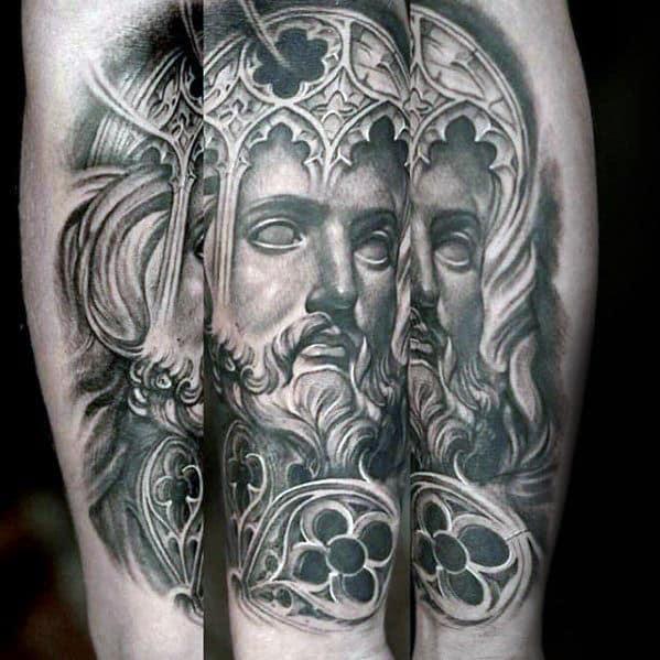 Church Window With Jesus Male Forearm Tattoos