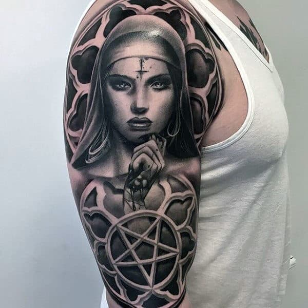 Church Windows Virgin Mary 3d Guys Half Sleeve Tattoos