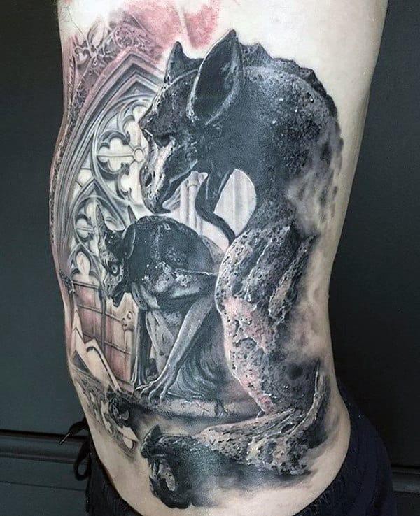 Church Windows With Gargoyles Mens Rib Cage Side Tattoos