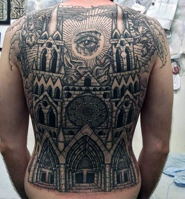 Church With Eye Of Providence Mens Full Back Tattoo