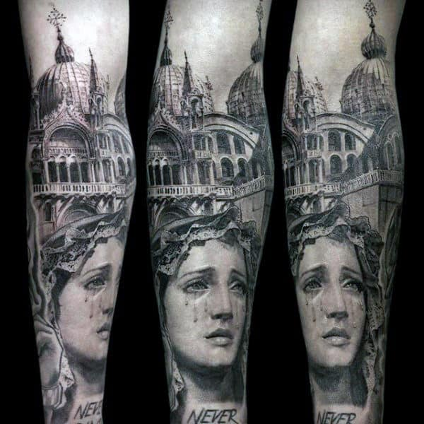 Church With Virgin Mary Guys Forearm Sleeves