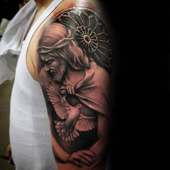 Church With With Jesus And Dove Arm Tattoos For Men