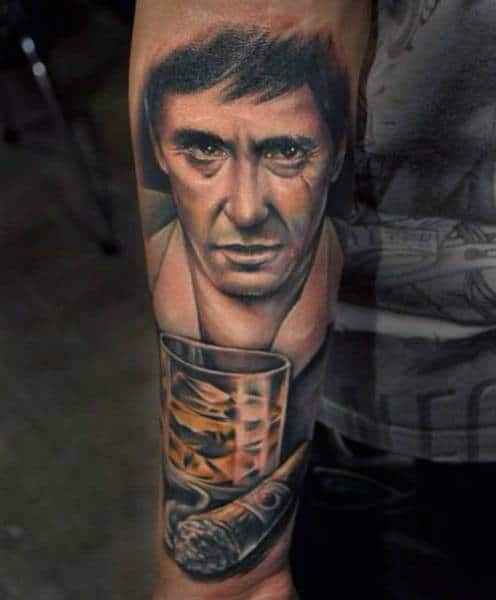 Cigar With Whiskey Glass Male Scarface Outer Forearm Tattoo